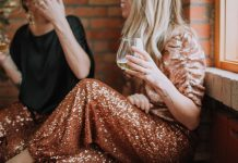 What to wear for NYE -- or any occassion really (lounging around, anyone?)? Free People sequin joggers. Try 'em instead of a dress. Less fuss, same glam.