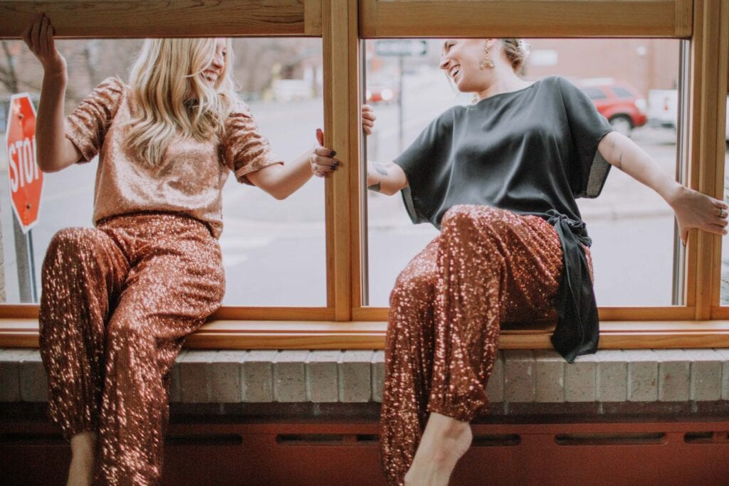 What to wear for NYE -- or any ocassion really (lounging around, anyone?)? Free People sequin joggers. Try 'em instead of a dress. Less fuss, same glam.