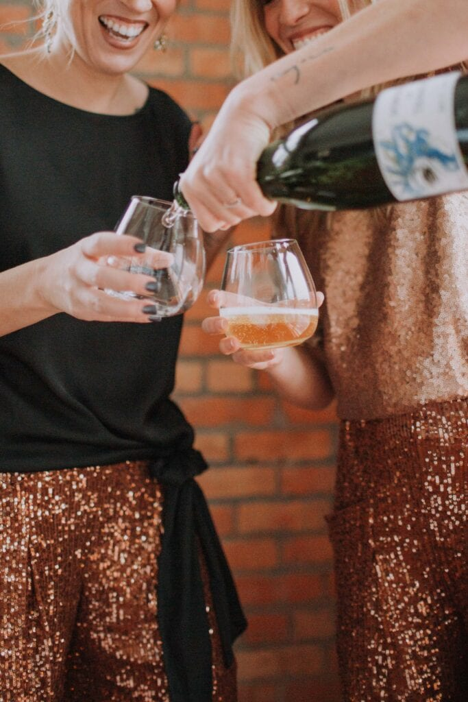 What to wear for NYE -- or any occasion really (lounging around, anyone?)? Free People sequin joggers. Try 'em instead of a dress. Less fuss, same glam.