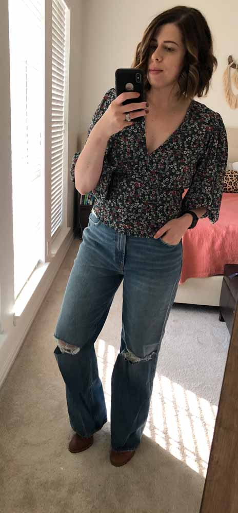 "Abercrombie's new thing is ""Decades of Denim"". I found not only '80s & '90s-style high-rise jeans, but bodysuits, a floral blouse + a knotted leopard tee."