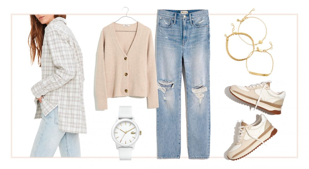 Cozy Abercrombie sweatpants, Madewell cardigan, a pair of sherpa-lined Birkenstocks...our casual, neutral capsule wardrobe is perfect for winter.