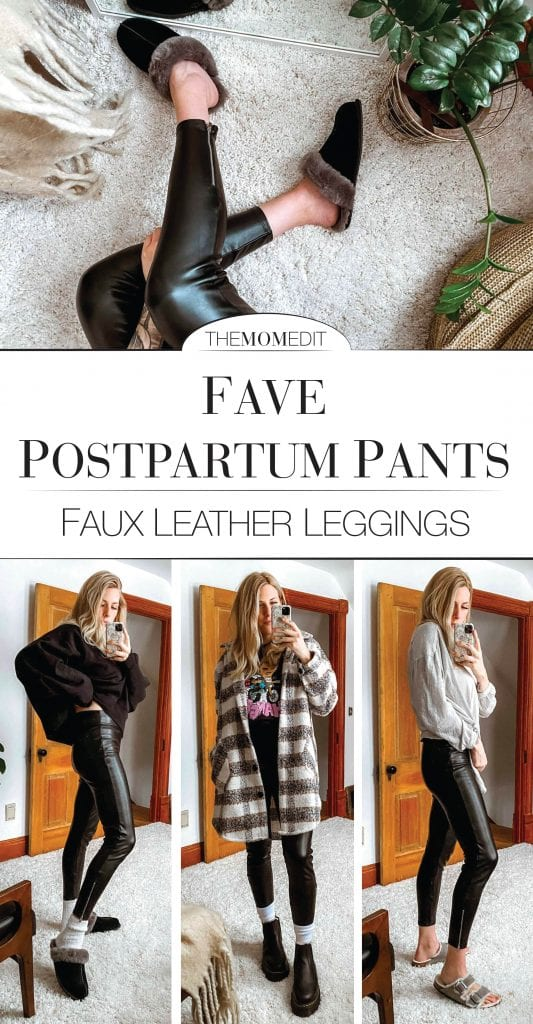 Not only are these faux leather leggings wonderfully comfortable, they look dang amazing, too. Postpartum Party Pants, I named 'em as I checked out my butt for the 3rd time.