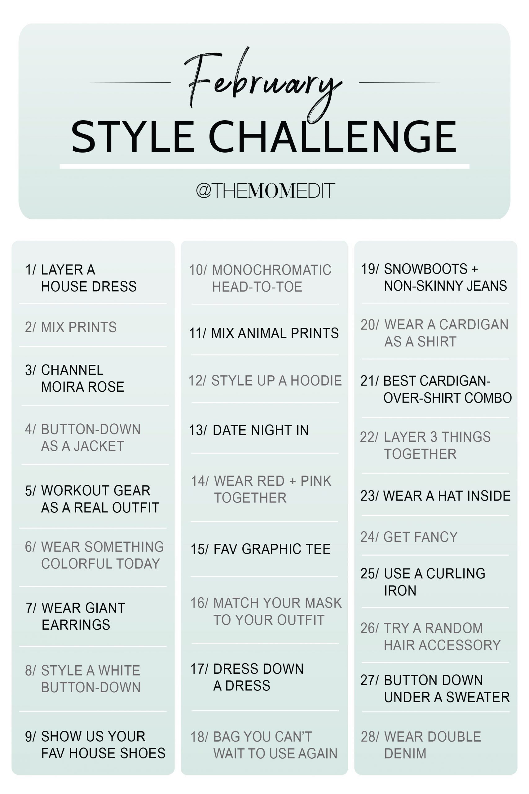 We're here to announce that the February Style Challenge is coming in HOT...a different challenge EVERY DAY! That's right. We're (probably) ready for you 2021!