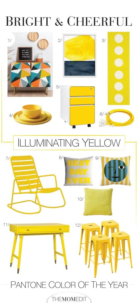 Illuminating Yellow is bright, in a beautiful, almost unexpected, yet familiar way. Thus, a roundup of fun ways to add these Pantone color of the year pops into our home decor.