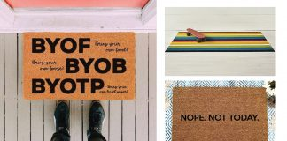 We're eyeing 12 doormats that have our happy feet dancing. From bold stripes to funny graphics, and Cozy AF to social distancing forever...come on in.