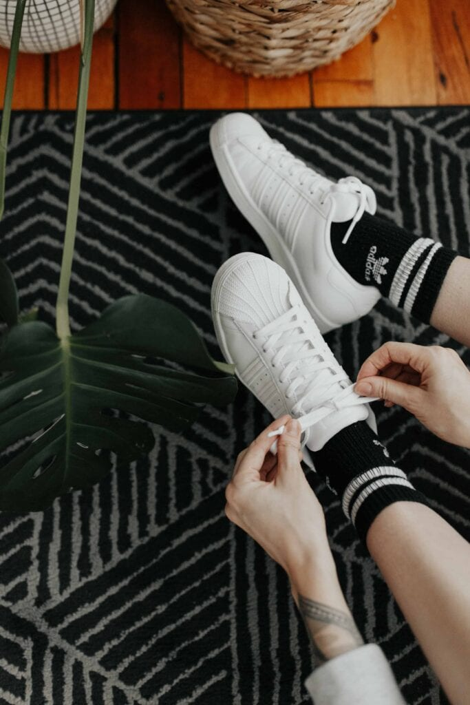 I could easily make a capsule wardrobe featuring adidas pieces only. Lounge shorts, classic sneakers, pre-baby & postpartum. Even my baby wears adidas.