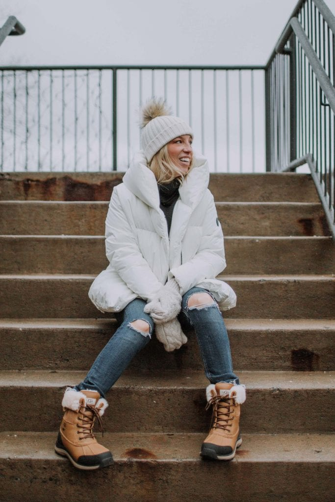 In the end, I landed on a white puffer coat & UGG's Adirondack Waterproof Boots. Add a cute winter hat & mittens....Cute + warm for the win!