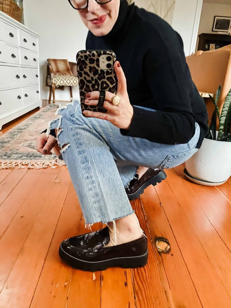 Prepping things up -- street style. The hunt for a cute, comfy pair of chunky, platform loafers (lug sole, please) is on. Vionic? Franco Sarto? Dolce Vita?