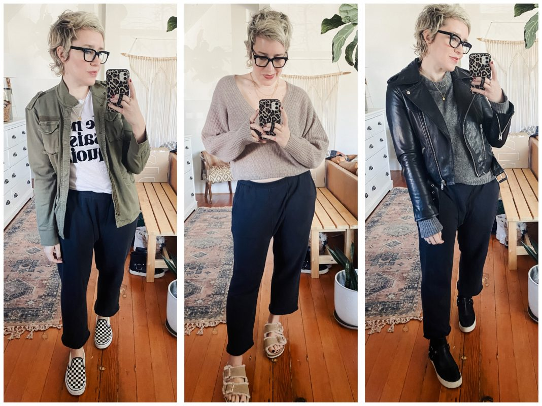 Our fav sweatpants are so cozy we don't want to give 'em up. Solution? Jazz them up a bit. We're styling The Great baggy sweatpants 7 ways (+ a li'l mini-review).