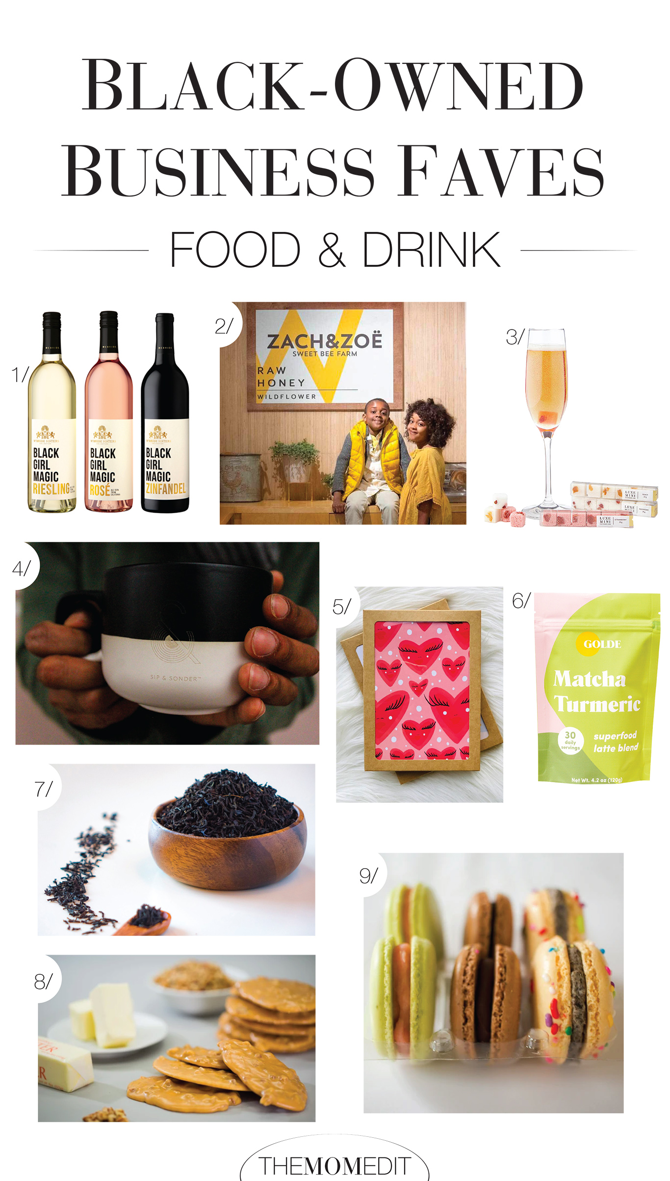We're talking food + drink from Black-owned shops....Think mimosa sugar cubes, matcha tea, macarons, & more fun, tasty finds...a big shout out to the confections & wine...