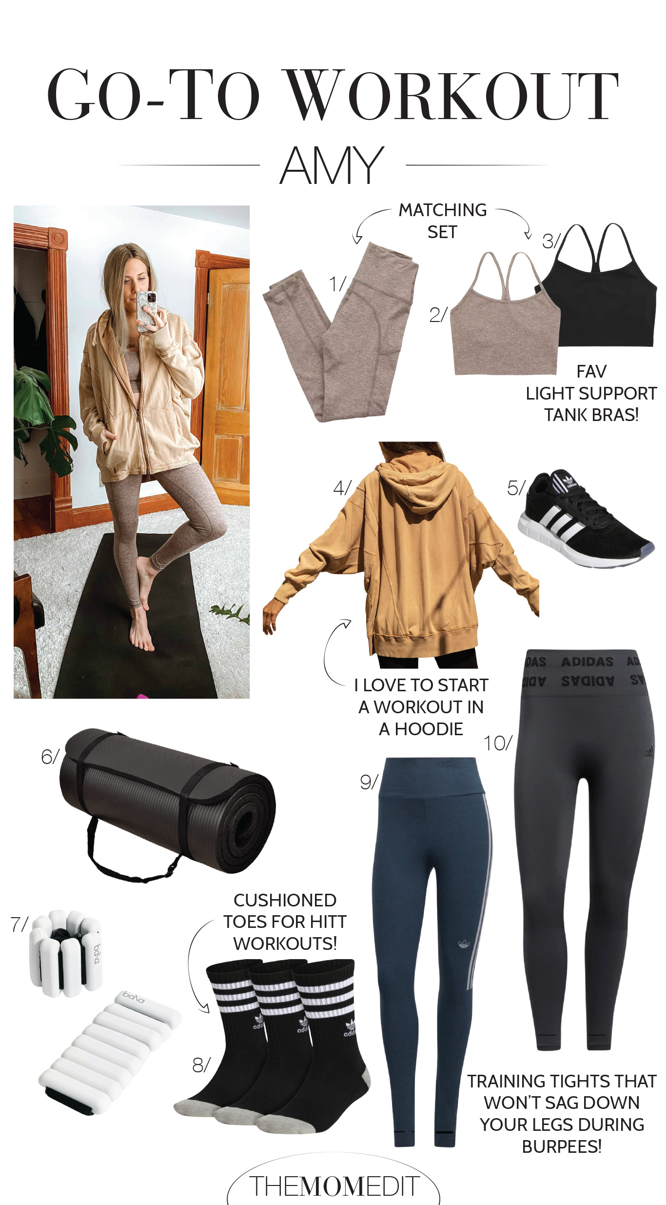 Our go-to, at-home workouts + any equipment we have or need, plus our favorite activewear (think adidas, Nike, Zella, Beyond Yoga & Athleta).