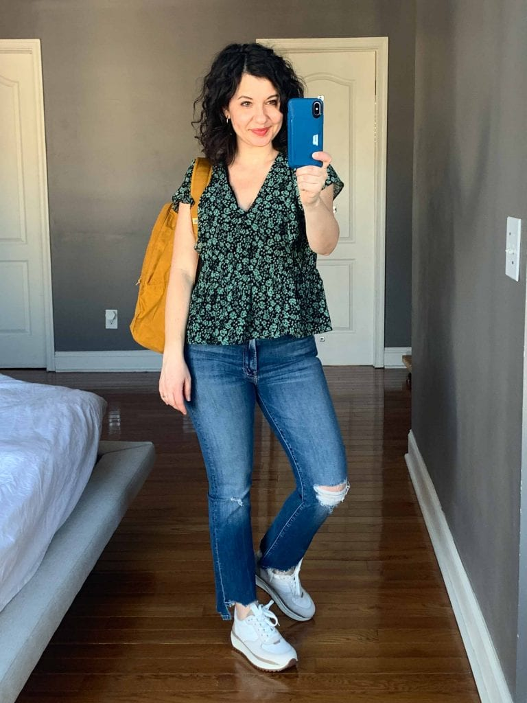To create my perfect spring capsule wardrobe, I looked specifically for 3 styles of tops: an easy-to-wear solid, a great stripe + a pretty spring print.