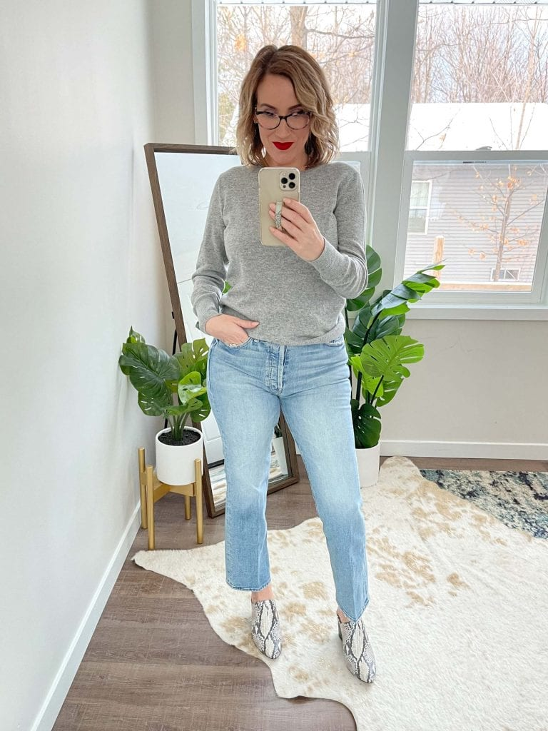 I've been digging my heels in on this denim trend because I'm curvy. But these jeans are both on-trend + flattering: straight leg jeans that work with curves.