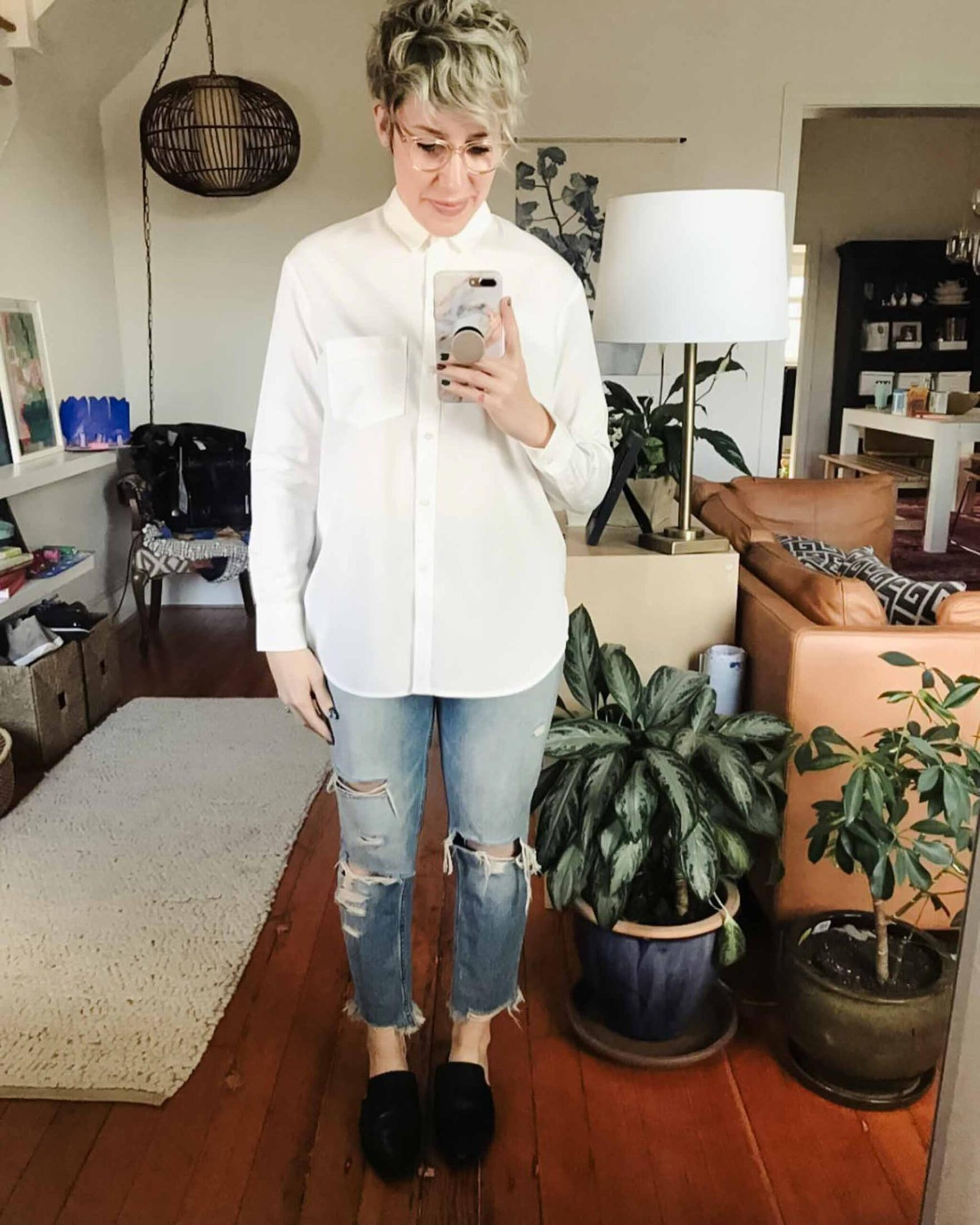 An outfit a day keeps the winter doldrums away. White button downs, monochromatic loungewear, house shoes & hoodies...#TMEStyleChallenge