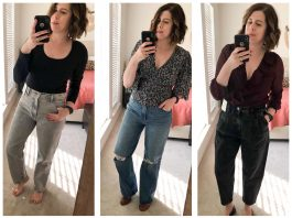 """Abercrombie's new thing is """"Decades of Denim"""". I found not only '80s & '90s-style high-rise jeans, but bodysuits, a floral blouse + a knotted leopard tee."""