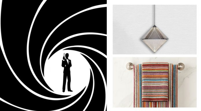 This is for fun, for the Bond Lovers, for the love of wallpaper + light fixtures + all the cool shiny things & w/ Sean Connery, RIP, on my mind.