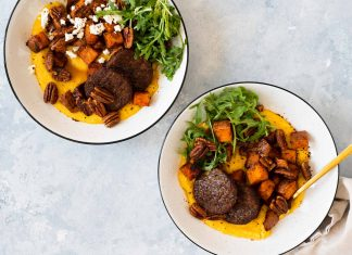 """This easy sheet pan meal featuring grits, sweet potatoes & """"sausage"""" is hearty, vegan + gluten-free. It comes together with very little hands-on time."""