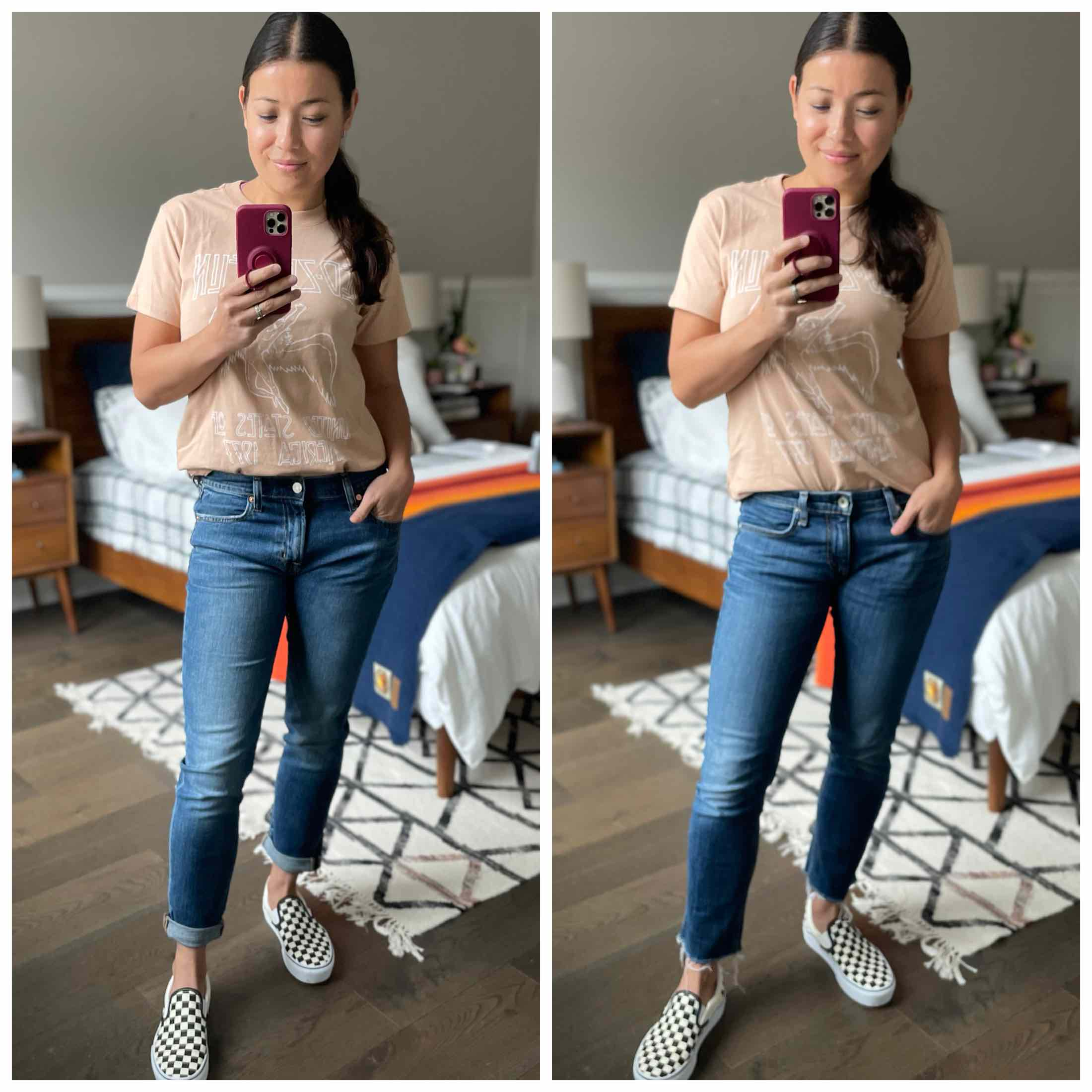 I picked up a pair of Gap Girlfriend jeans —  low + behold! They're GOOD. More unexpectedly, they're eerily similar to my rag & bone Dre Slim Boyfriend Jeans.