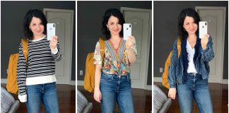 For my ideal spring capsule wardrobe, I'm searching for the perfect tops: w/ stripes, in prints or solid. Anthro nails it for spring & summer blouses.