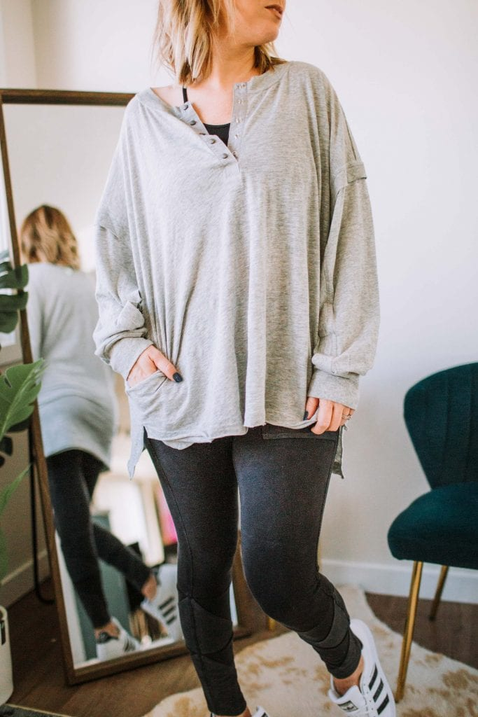 This Free People outfit is too good not to share -- I promise. It's the perfect comfy at-home outfit, but it's cute enough to the house in.