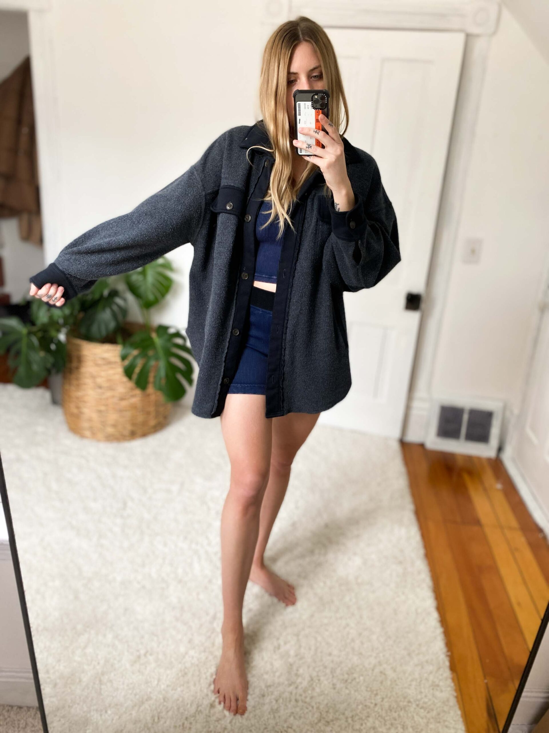 The Ruby Jacket is oversized & perfect for layering. Paired w/ long sleeves, hooded sweatshirts, or a crop tank bra underneath, it's cooozzy, but not in a dead-of-winter sort of way.
