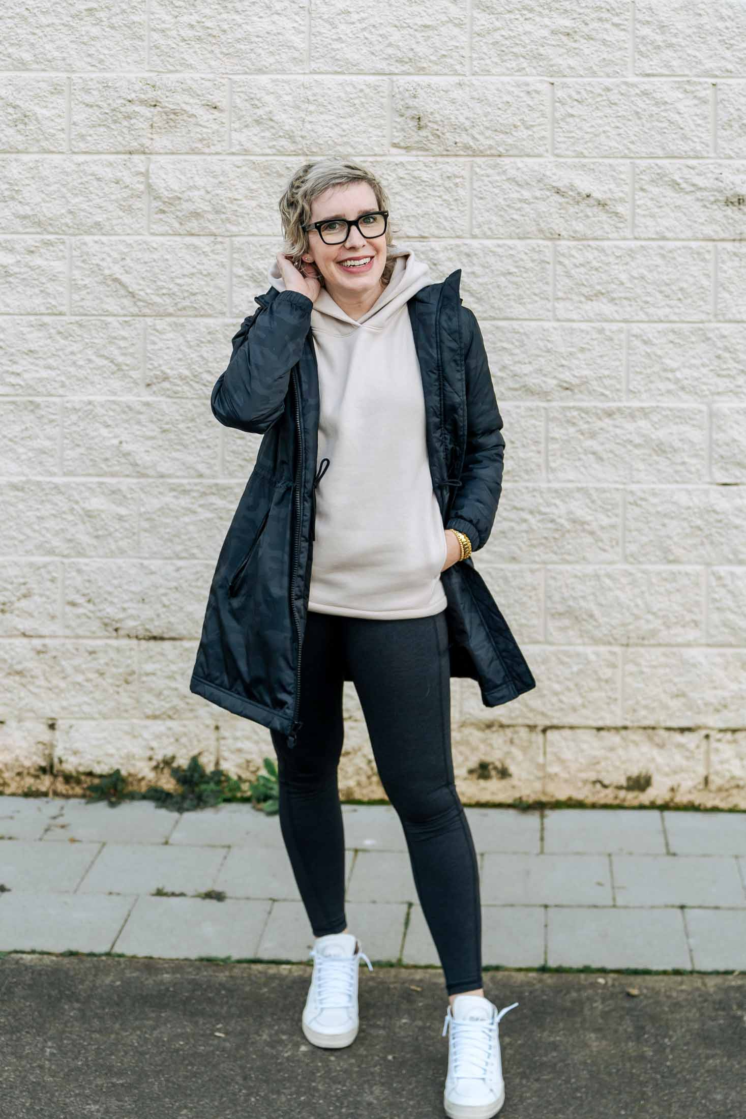 It's no surprise that I went right to the cute sporty pieces at Gap. Soft tech leggings, rad jackets, and this cozy hoodie I'll be wearing for months.