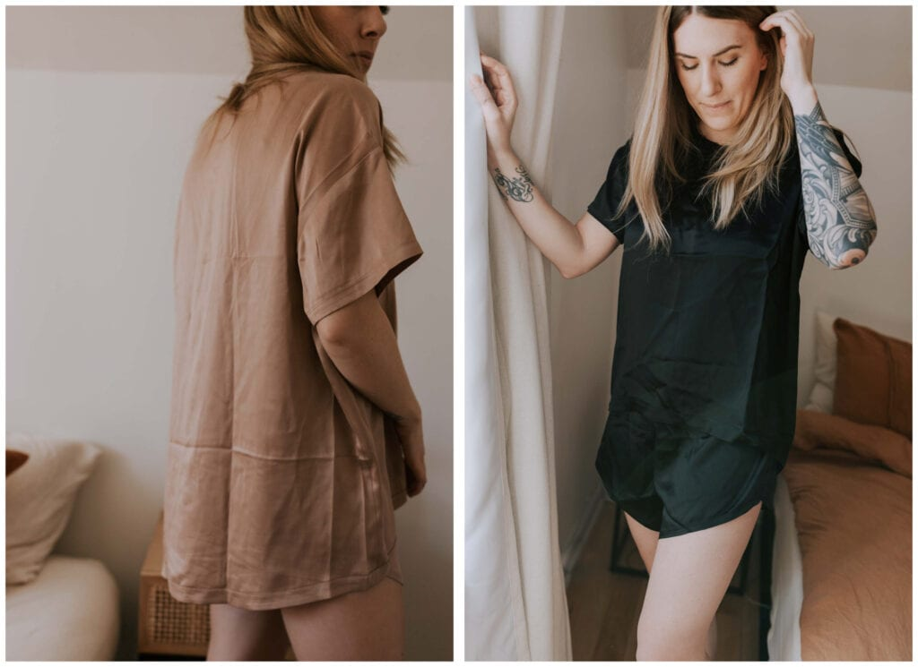 Two washable silk pajama sets, one review. Lunya vs. Quince. A postpartum mom puts 'em to the test. Spoiler alert: both short sets are really good...