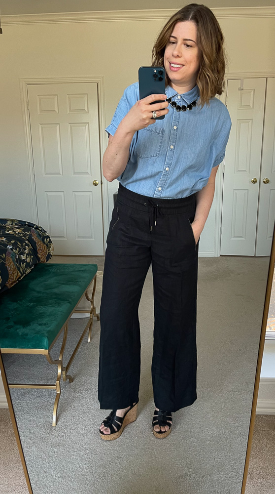 Athleta's Cabo Linen Wide Leg Pants are high-waisted, drawstring, comfy + most importantly, THEY HAVE POCKETS. (They're also travel-friendly.)