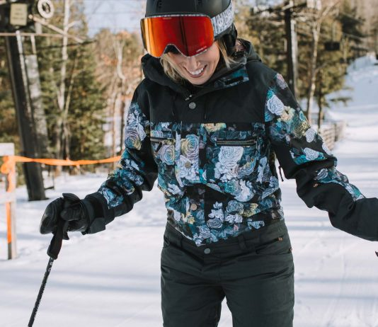 "It's the kind of ski suit I've always wanted, way back when I was fan-girling about hot snowboarders (married to 1 now--#goals) + dreaming of being part of the ""in"" ski crowd."