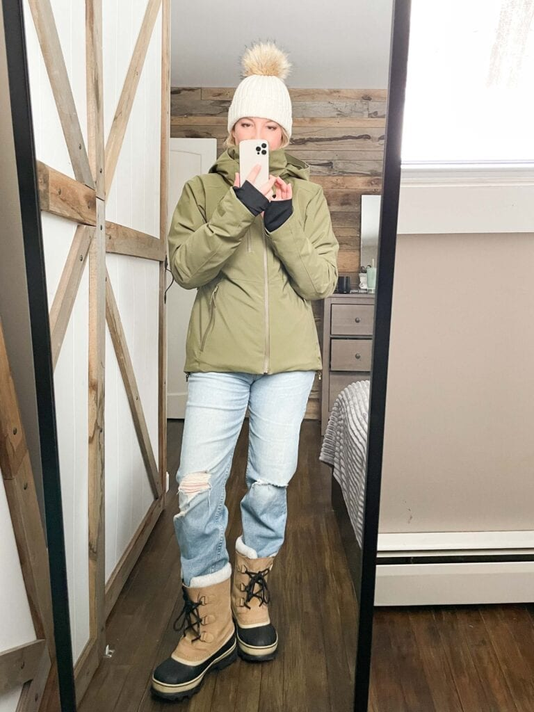 I did that thing where I lock myself in a room & try all the jeans/boots/coats possibilities to see if any of my straight-leg jeans work w/ any of my winter boots + coats.