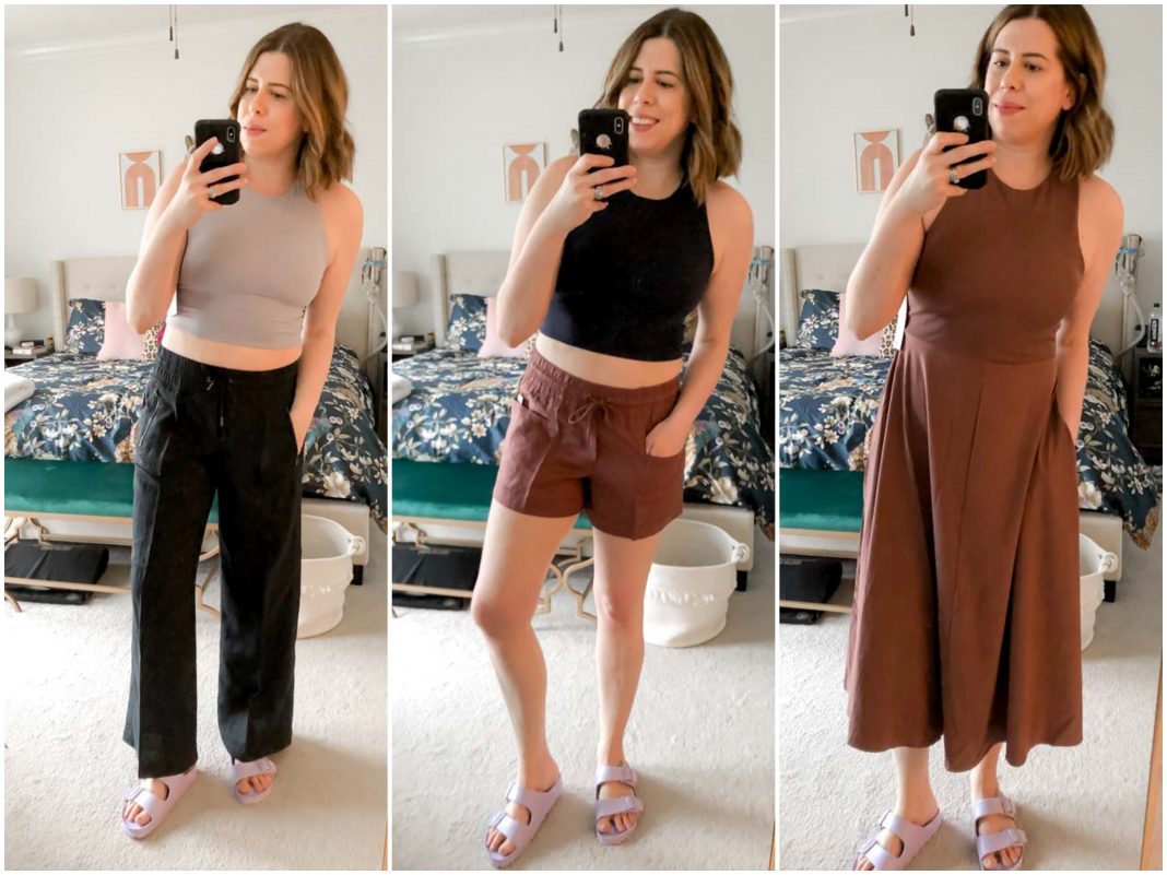 Athleta's current line has major outfit inspo. Cute joggers, linen pants & shorts, plus an amazing midi dress (psst...this crop top is good, too).