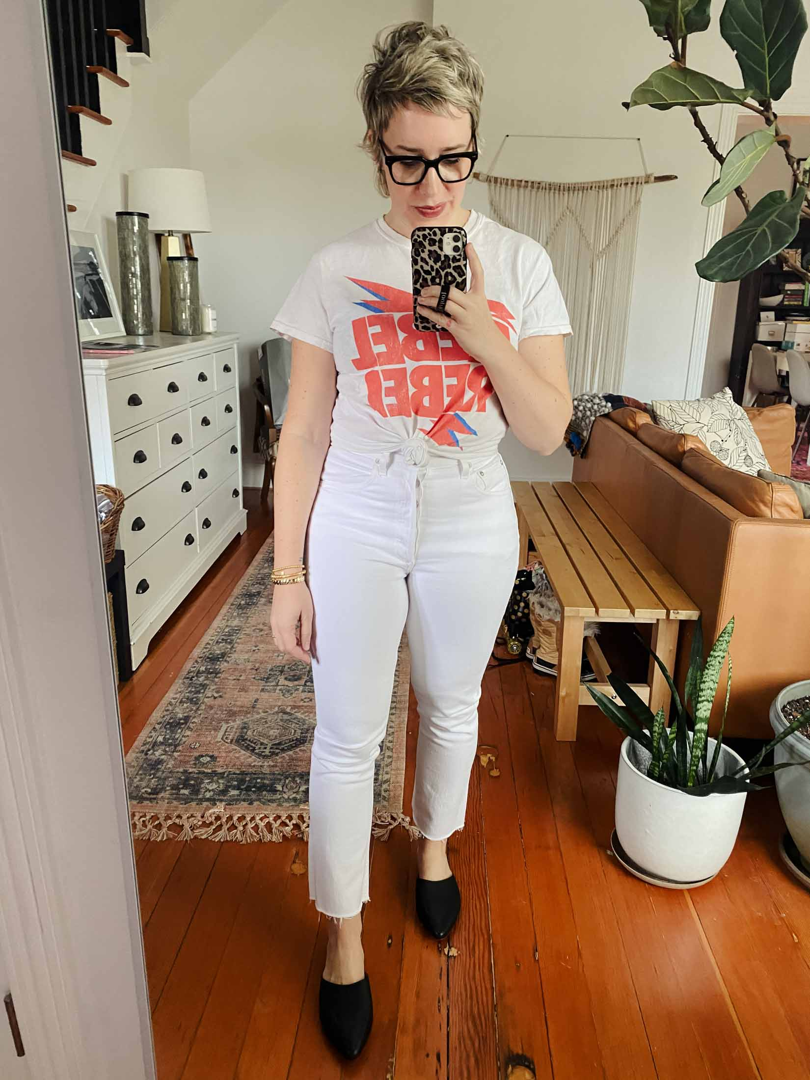 Black tees w/ white graphics are some of my most-worn. Faded options are great for styling wi/ just about anything. Colorful tees are awesome to add some pop to solid pieces.