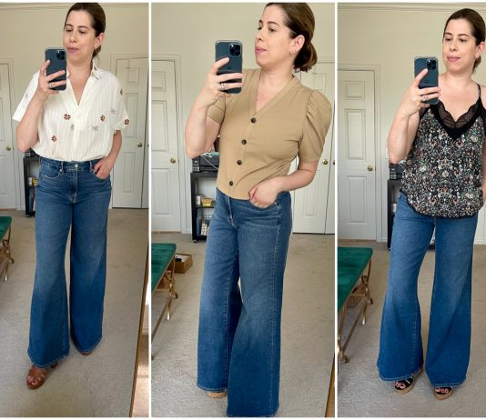 A spring must--Good American Palazzo Jeans. We put them to the test, styling these high rise flared pants 11 ways with '70s tops, platform sandals + more.