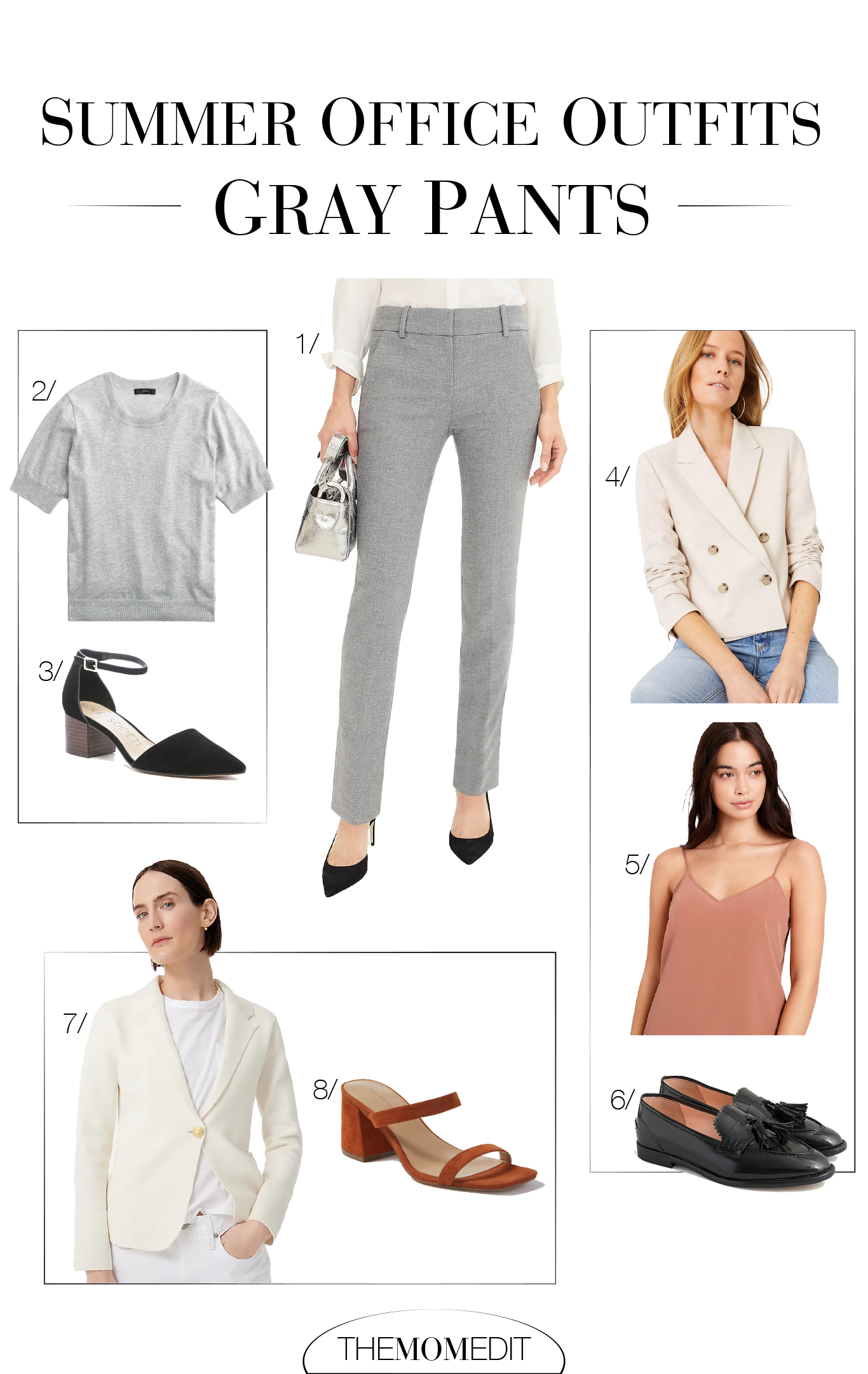 This summer, business casual outfits for the office are on order. Think layers, wide-leg pants & neutrals, but definitely no frills & ruffles. This capsule wardrobe nails it.