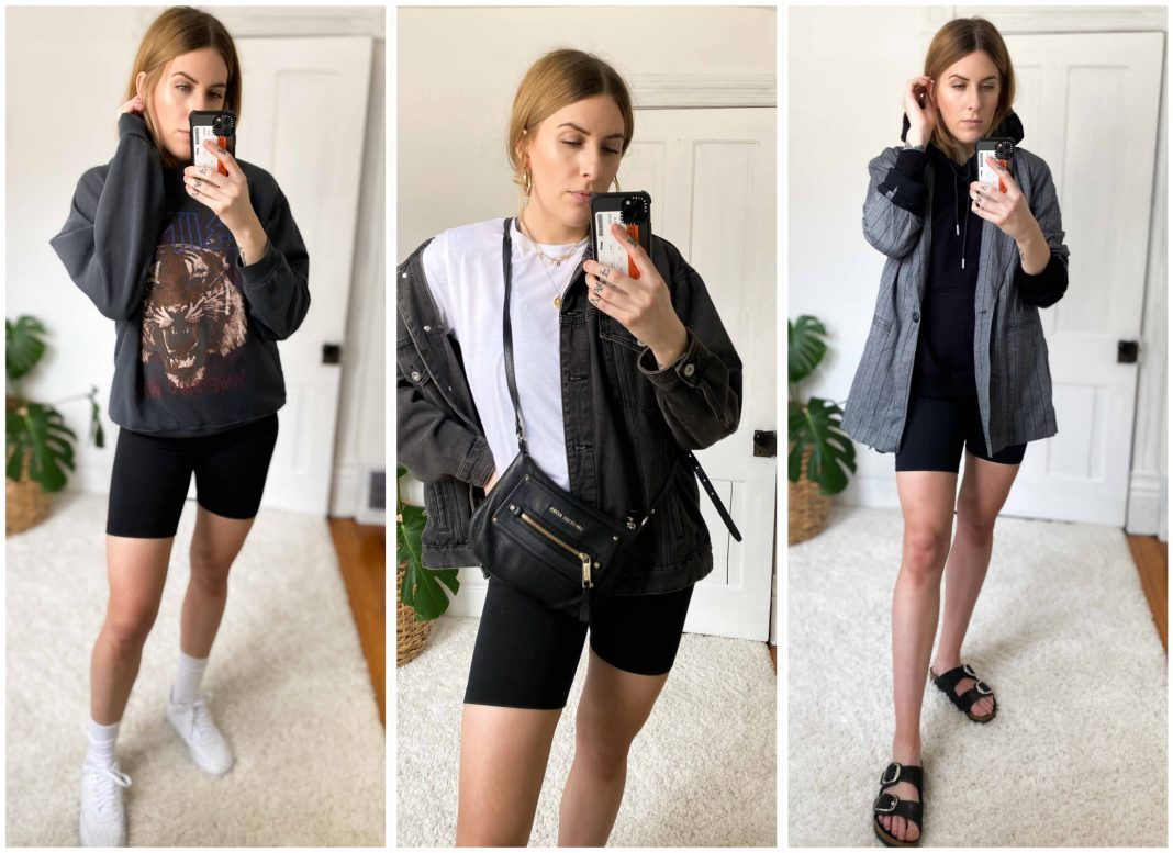 Bike shorts are easy to style b/c they balance out my fave oversized tops. These are your summertime leggings, your wardrobe's best friend.