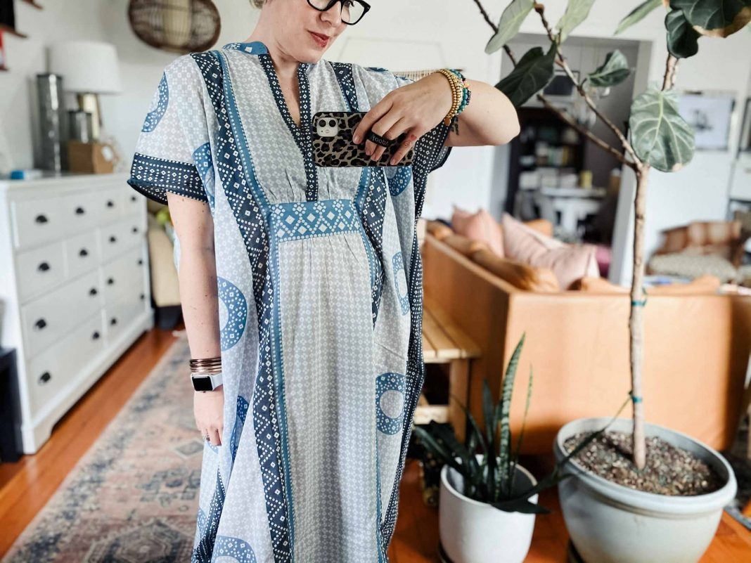YES. Helloooo summer. Emerson Fry caftan time. Swathed in the beauty of these gorg house dresses, this jeans-wearing gal feels like a legit sun goddess.