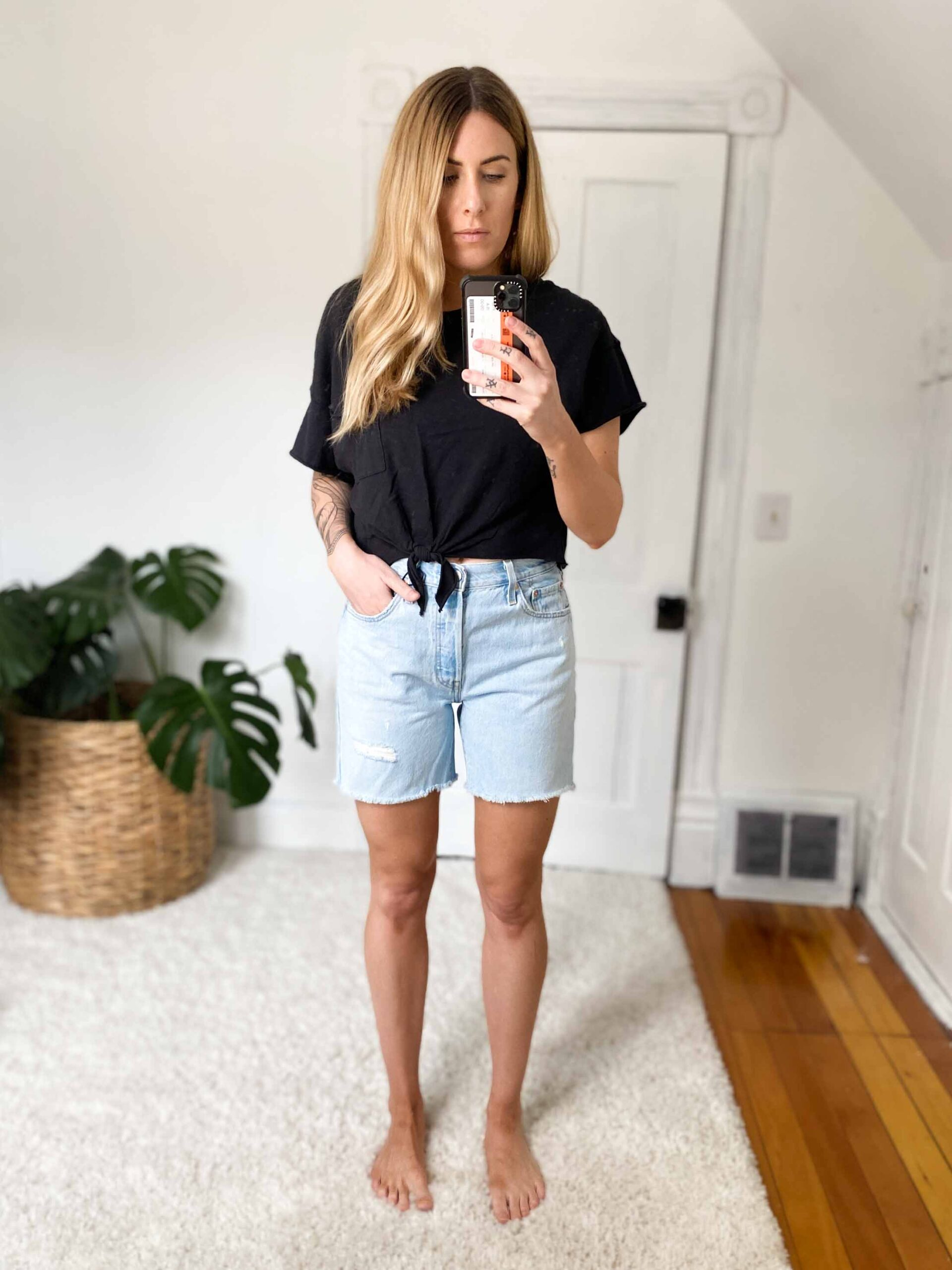 """I set out to find a great pair of long denim shorts, avoiding real-deal Bermuda styles that touch the knees, yet still providing a great length on my 5'9"""" legs."""
