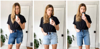 "I set out to find a great pair of long denim shorts, avoiding real-deal Bermuda styles that touch the knees, yet still providing a great length on my 5'9"" legs."
