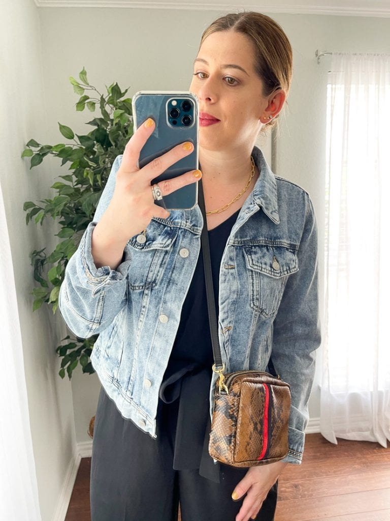 Free People's Rumors Denim Jacket is a year-round, must-have. We're styling this perfect outfit topper for jumpsuits, dresses & even the Canadian Tuxedo.