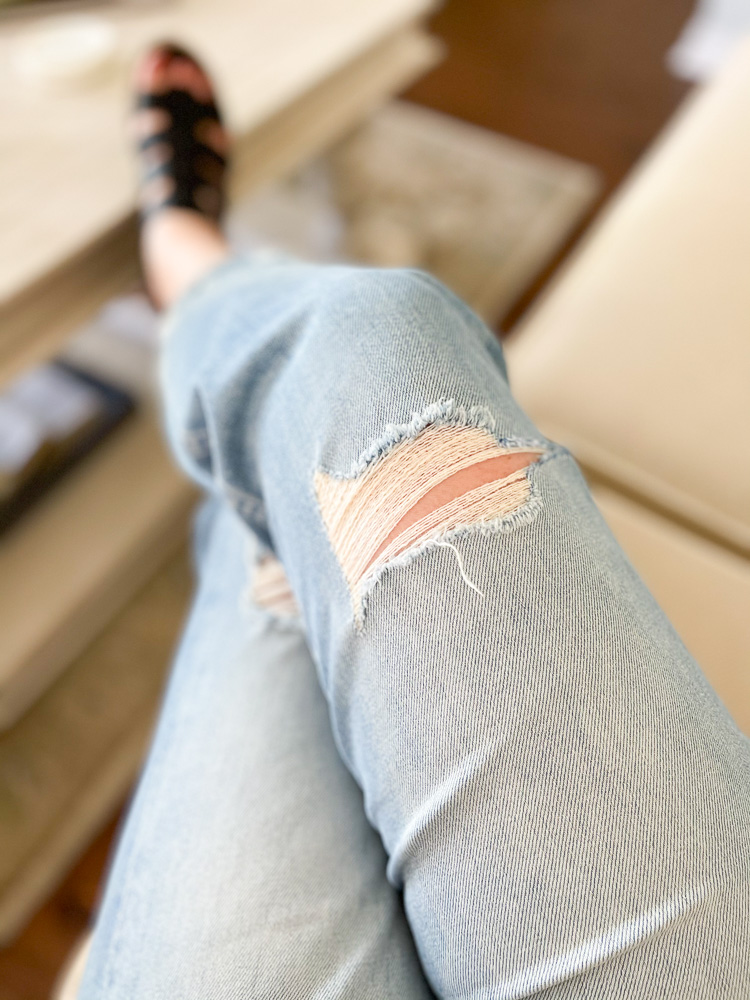 The perfect forever denim: Mother Tomcat Ripped Straight Leg Jeans. Literal perfection & SO worth it. Playdates? Errands? Date night? These jeans pass the test.