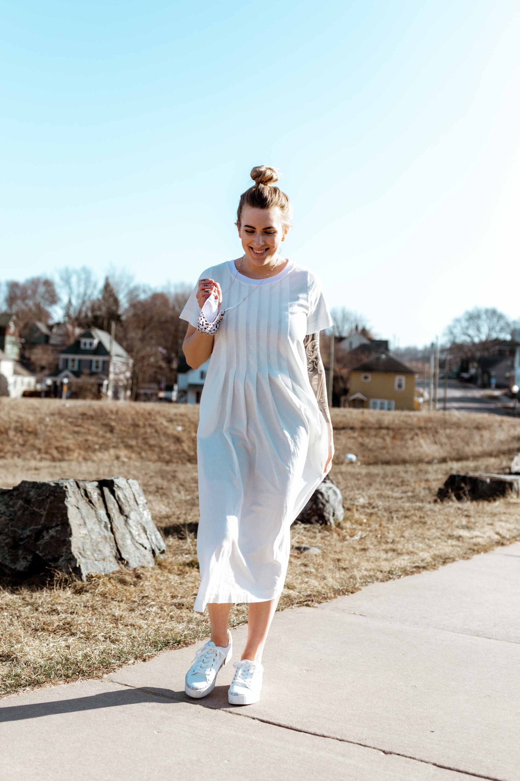I heart those dressy-yet-casual combos that look both put together + effortless. A vibrant slip dress w/ a t-shirt, a light sweater & some comfy kicks...just the kind of wardrobe vibes we need.