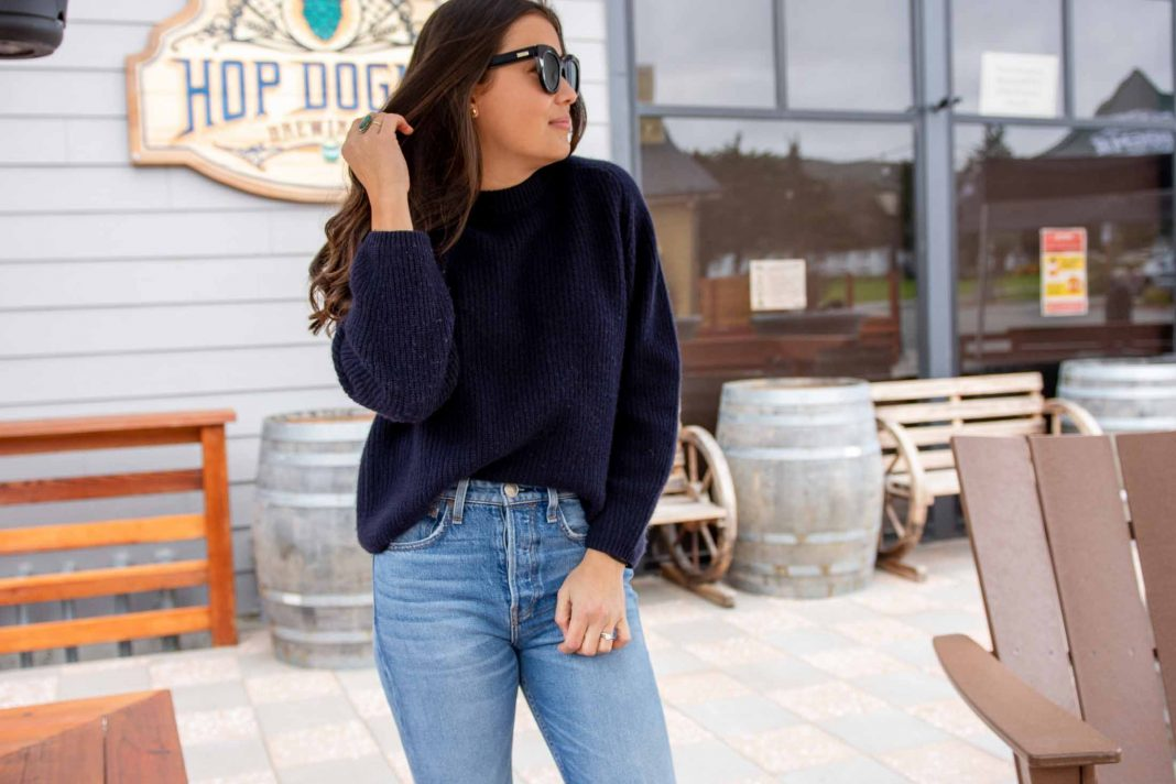 NAADAM sustainable cashmere sweaters + rag & bone Maya High-Rise straight leg jeans are 2 timeless pieces that are totally worth the cost.