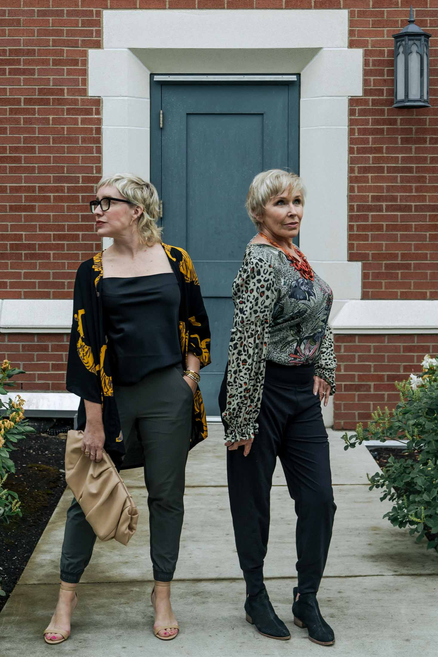 My 60-something mom & I both ADORE Athleta joggers, so we're each styling 'em up -- dressy & casual, black & green. So FUN!