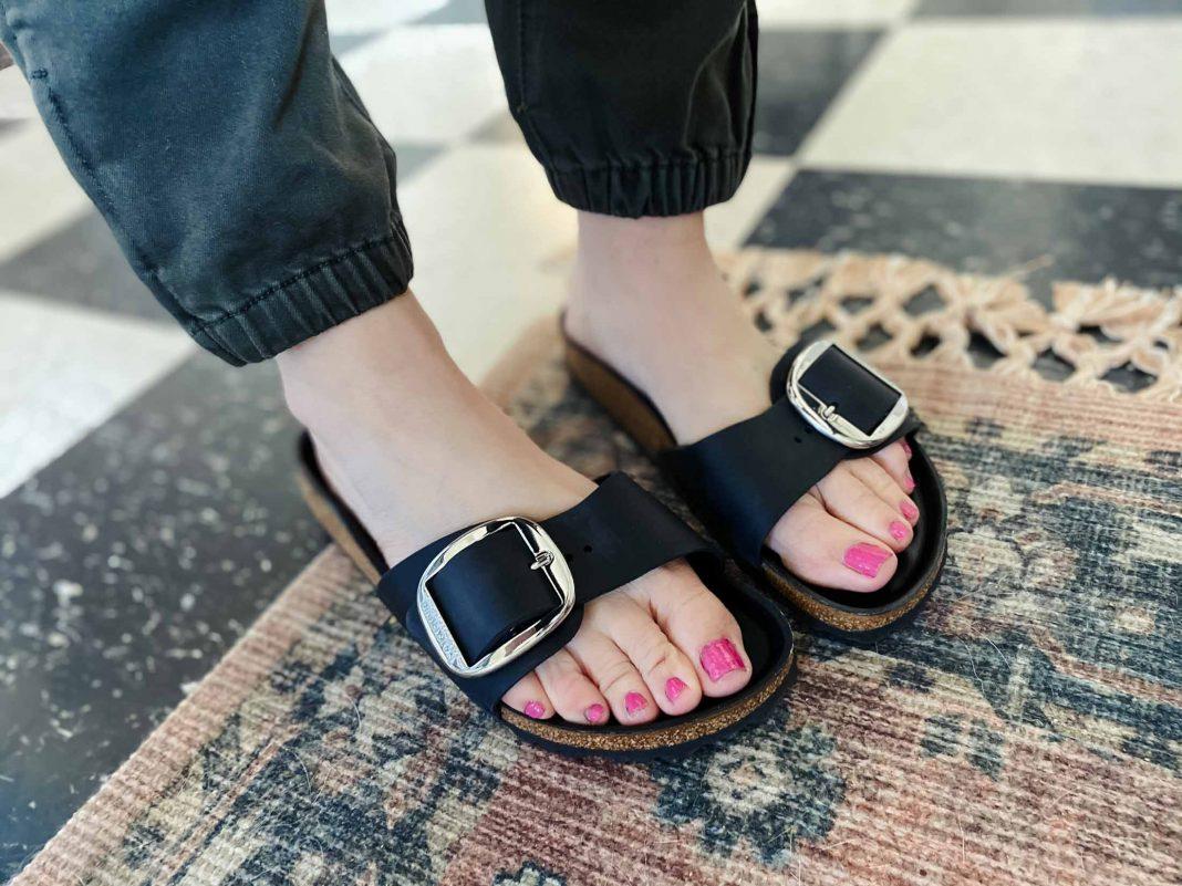 I'm trying the feminine Madrid Big Buckle, the classic Arizona Big Buckle, the pretty Siena Slide, a bold black & white pair, plus an earthy colorblock pair.