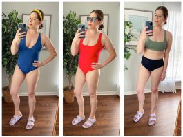 Everlane's new swim line? We're on it! Solid colors in dreamy shades, 7 bikini styles, & square neck + plunge v one-piece swimsuits. TME's initial review inside.