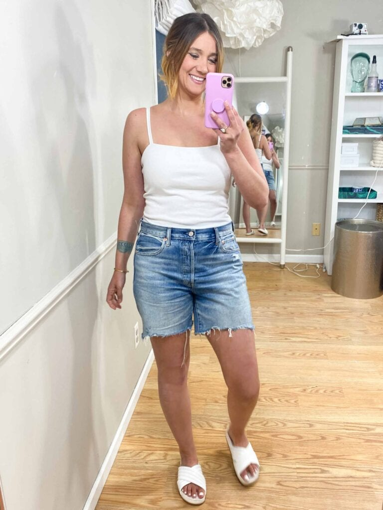 Gap denim shorts hit all the marks. Affordable & offered in many sizes (petite, regular + tall, sizing up to 35). Also: a variety of inseam lengths + high-, mid- & low-rise styles.