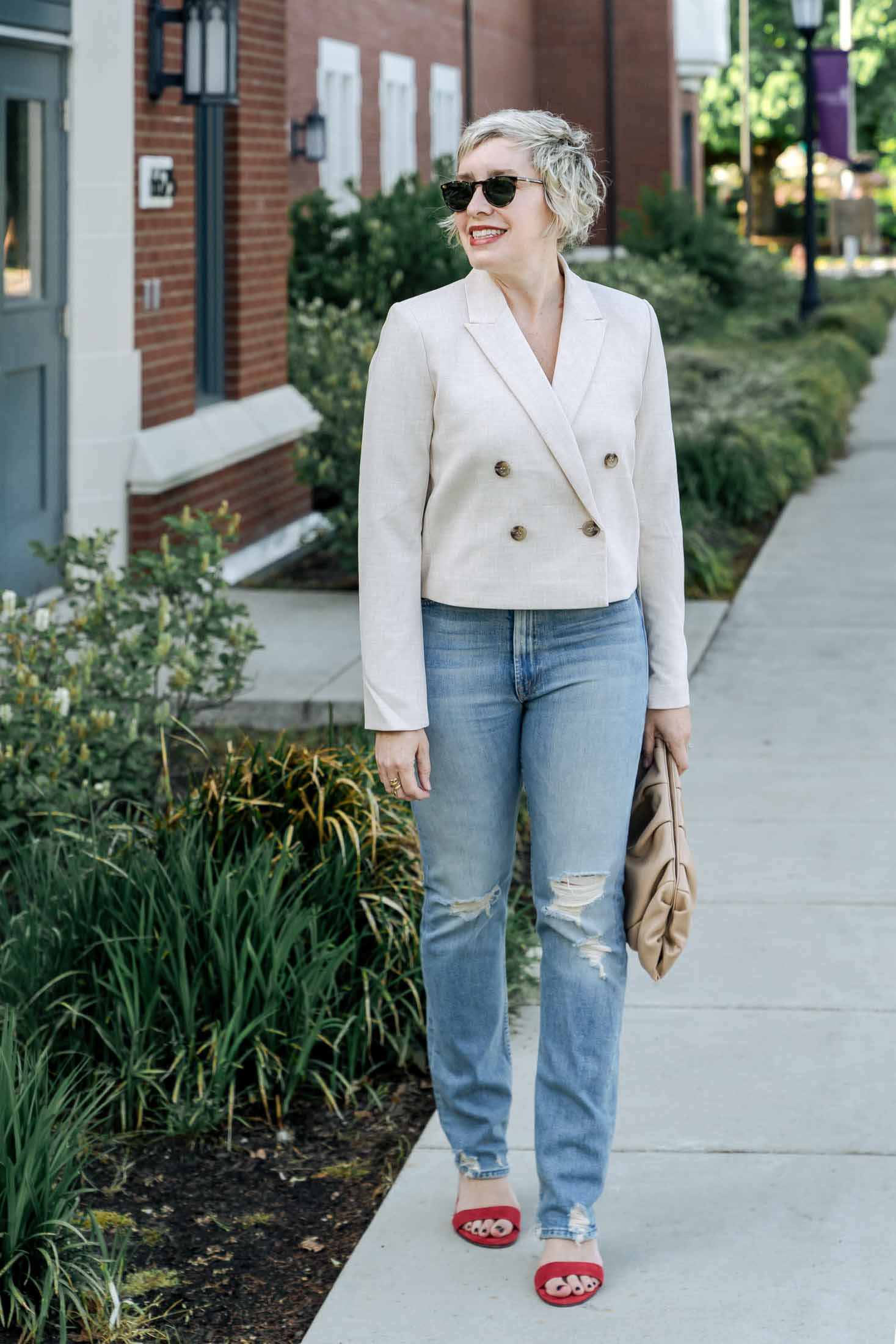 How cute & slightly-'80s-vibe, + fresh + summery + chic is this ivory cropped double-breasted blazer? I'm excited to style it up & am adoring this lewk so much.