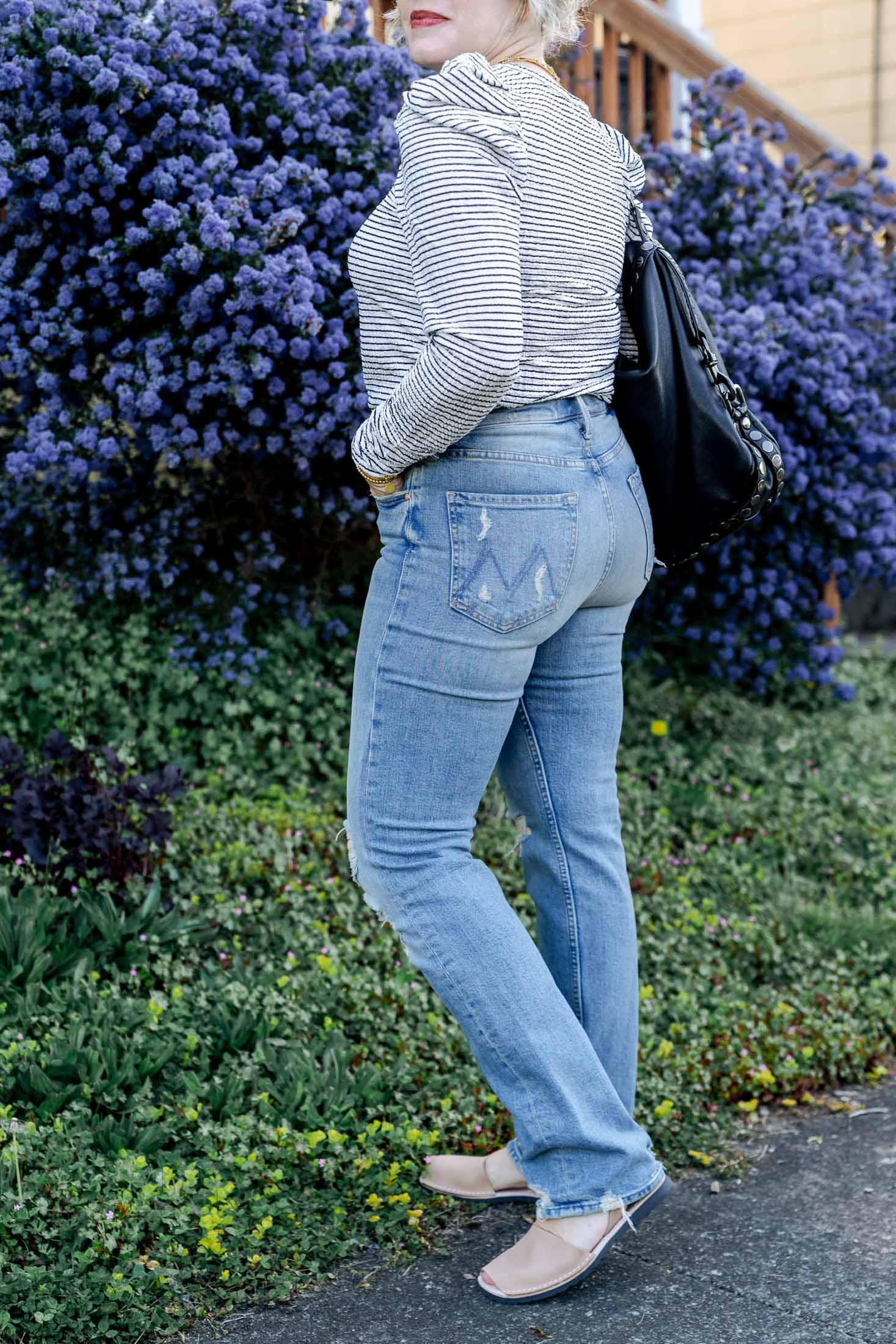 Full-length, straight leg jeans are my new crush. These MOTHER The High-waisted Rider Skimp jeans are so good…but…do I love them with flat shoes?