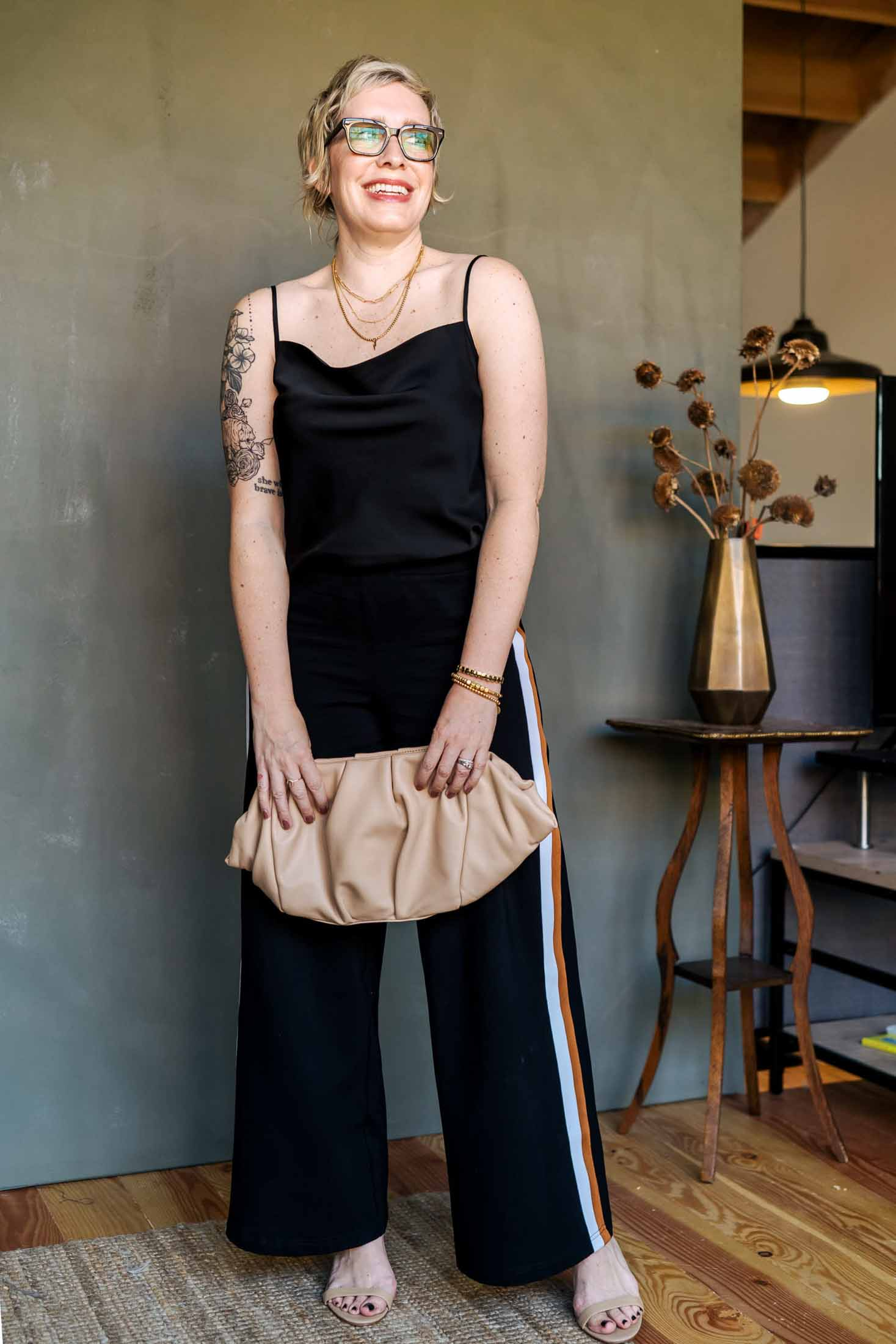 These wide-leg, track-style pants are comfy + work-appropriate. High-waisted ponte knit AND they come in sizes 00 - 40. I mean, what more can we ask for?