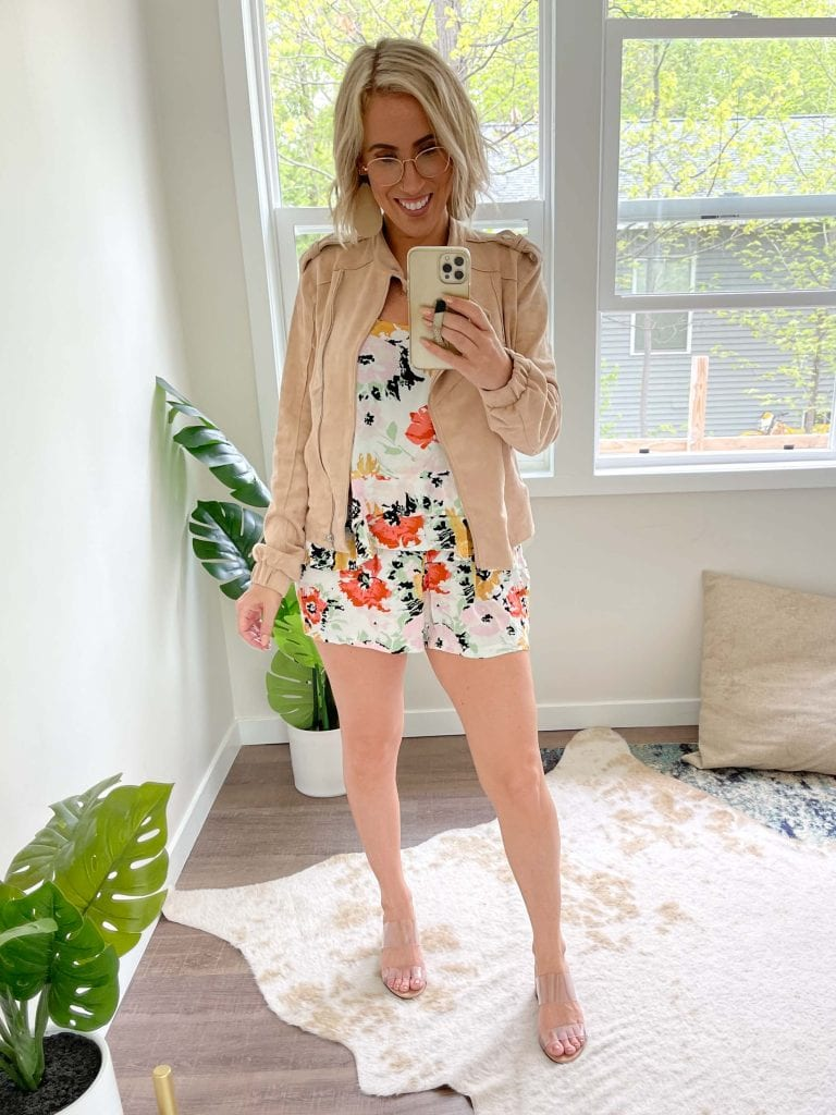 """I tried this floral 3-piece matching set. """"Is this too much?"""" I asked. Em said, """"It's very Blanche Devereaux."""" I mean, if I had to pick a Golden Girl, it would be Blanche —100%."""